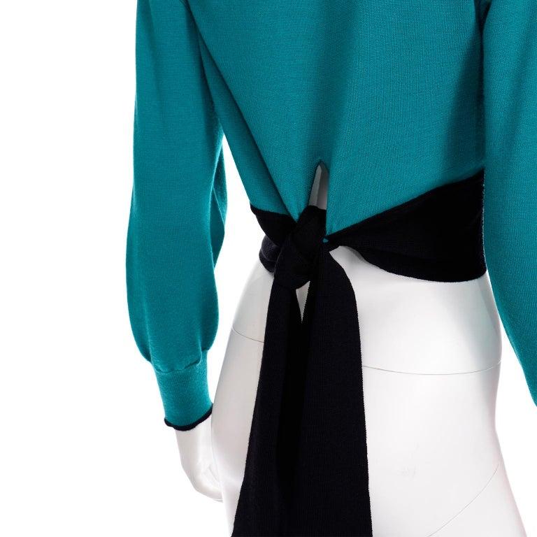 Emmanuelle Khanh Vintage Teal Wool Sweater With Navy Blue Tie Sash For Sale 7