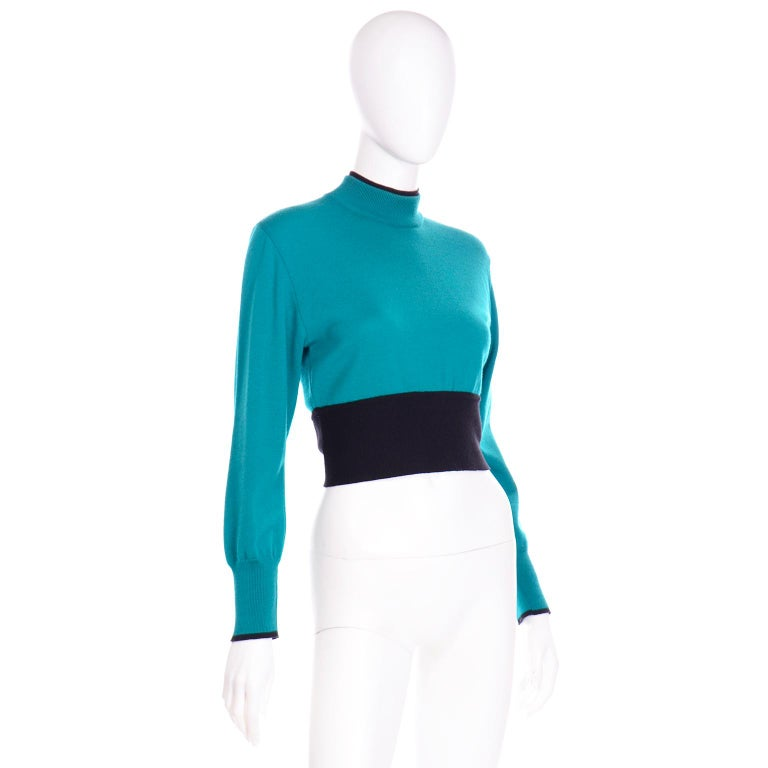 Women's Emmanuelle Khanh Vintage Teal Wool Sweater With Navy Blue Tie Sash For Sale
