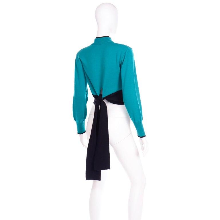Emmanuelle Khanh Vintage Teal Wool Sweater With Navy Blue Tie Sash For Sale 2