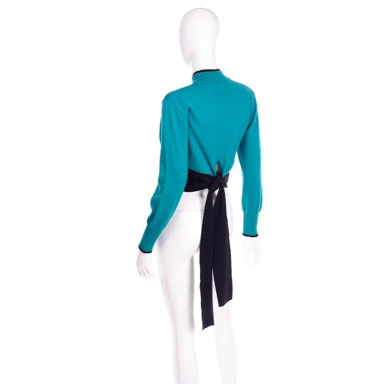 Emmanuelle Khanh Vintage Teal Wool Sweater With Navy Blue Tie Sash For Sale 3