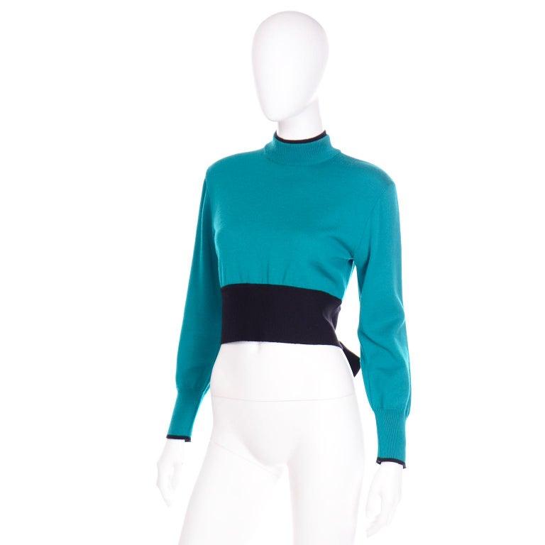 Emmanuelle Khanh Vintage Teal Wool Sweater With Navy Blue Tie Sash For Sale 4