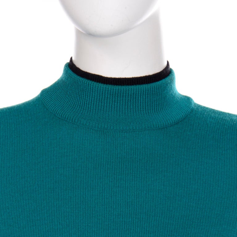 Emmanuelle Khanh Vintage Teal Wool Sweater With Navy Blue Tie Sash For Sale 5