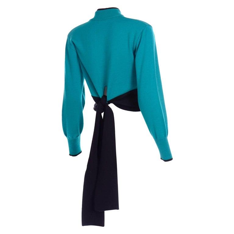 Emmanuelle Khanh Vintage Teal Wool Sweater With Navy Blue Tie Sash For Sale