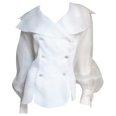 Emmanuelle Khanh White Silk Blouse Shirt