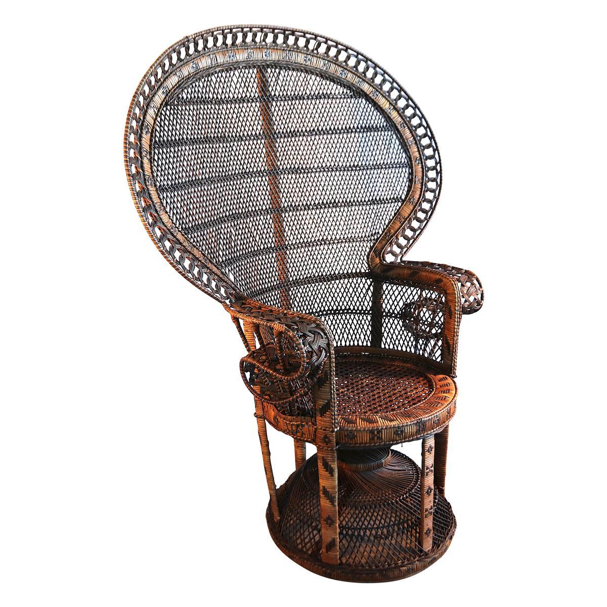 Emmanuelle Peacock Wicker Rattan Large Armchair