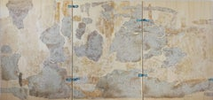 """abstract """"A suspended moment"""" triptych acrylic vegetable wood panel 100x210cm"""