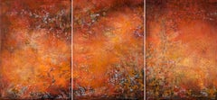 """abstract """"Feu"""" triptych acrylic linen canvas 2015 70x150cm send wood crate"""