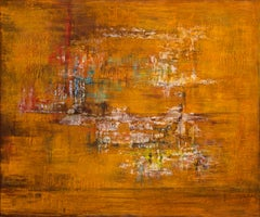 """abstract """"Trace"""" acrylic oxidation linen canvas 100x120cm send in wood crate"""