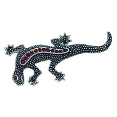 Emmons, Vintage Red Stone Gecko Pin