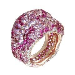 Fabergé Emotion 18k Rose Gold White Diamond & Pink Gemstone Encrusted Ring