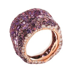 Fabergé Emotion 18K Rose Gold White Diamond & Purple Gemstone Encrusted Ring