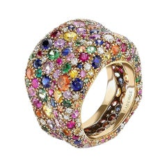 Fabergé Emotion 18k Yellow Gold Multicolor Gemstone Encrusted Ring with Diamonds