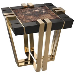 Emperador Side Table with brown marble