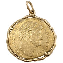 Emperor Hadrian Coin in Large Medallion Pendant of Yellow Gold
