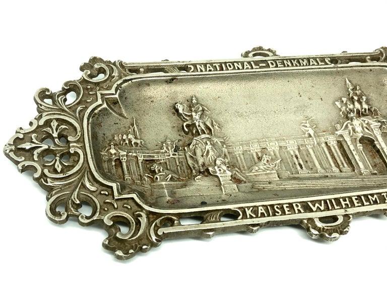 Art Nouveau Emperor Wilhelm I. Metal Catchall Shows National Monument, Antique German, 1890s For Sale