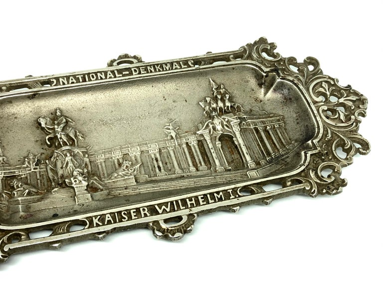 Hand-Crafted Emperor Wilhelm I. Metal Catchall Shows National Monument, Antique German, 1890s For Sale