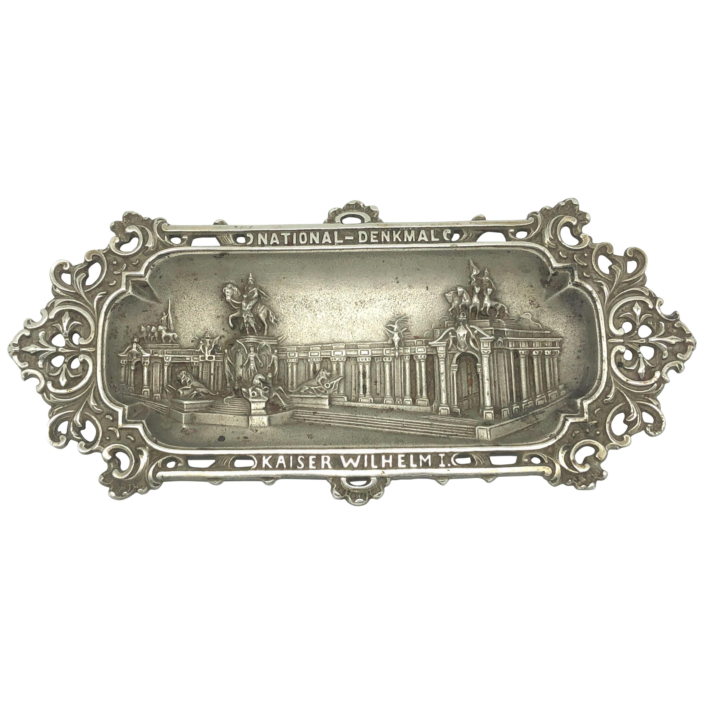 Emperor Wilhelm I. Metal Catchall Shows National Monument, Antique German, 1890s