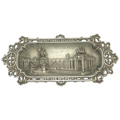 Emperor Wilhelm I. Metal Catchall Shows National Monument, Antique German, 1890s