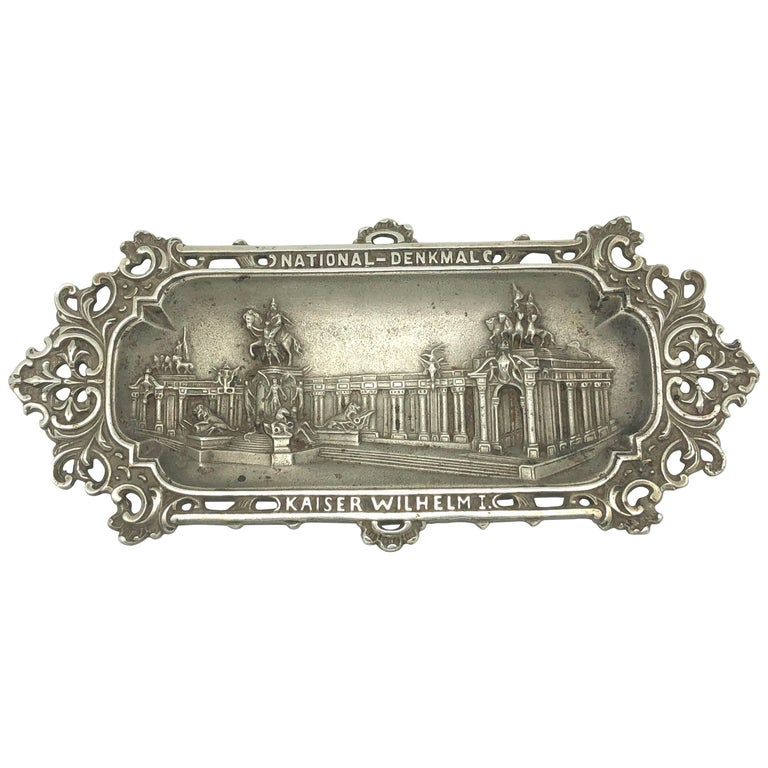 Emperor Wilhelm I. Metal Catchall Shows National Monument, Antique German, 1890s For Sale