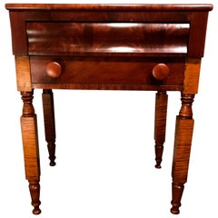 Empire 2-Drawer Stand in Tiger Maple, Cherry and Flamed Mahogany, circa 1820