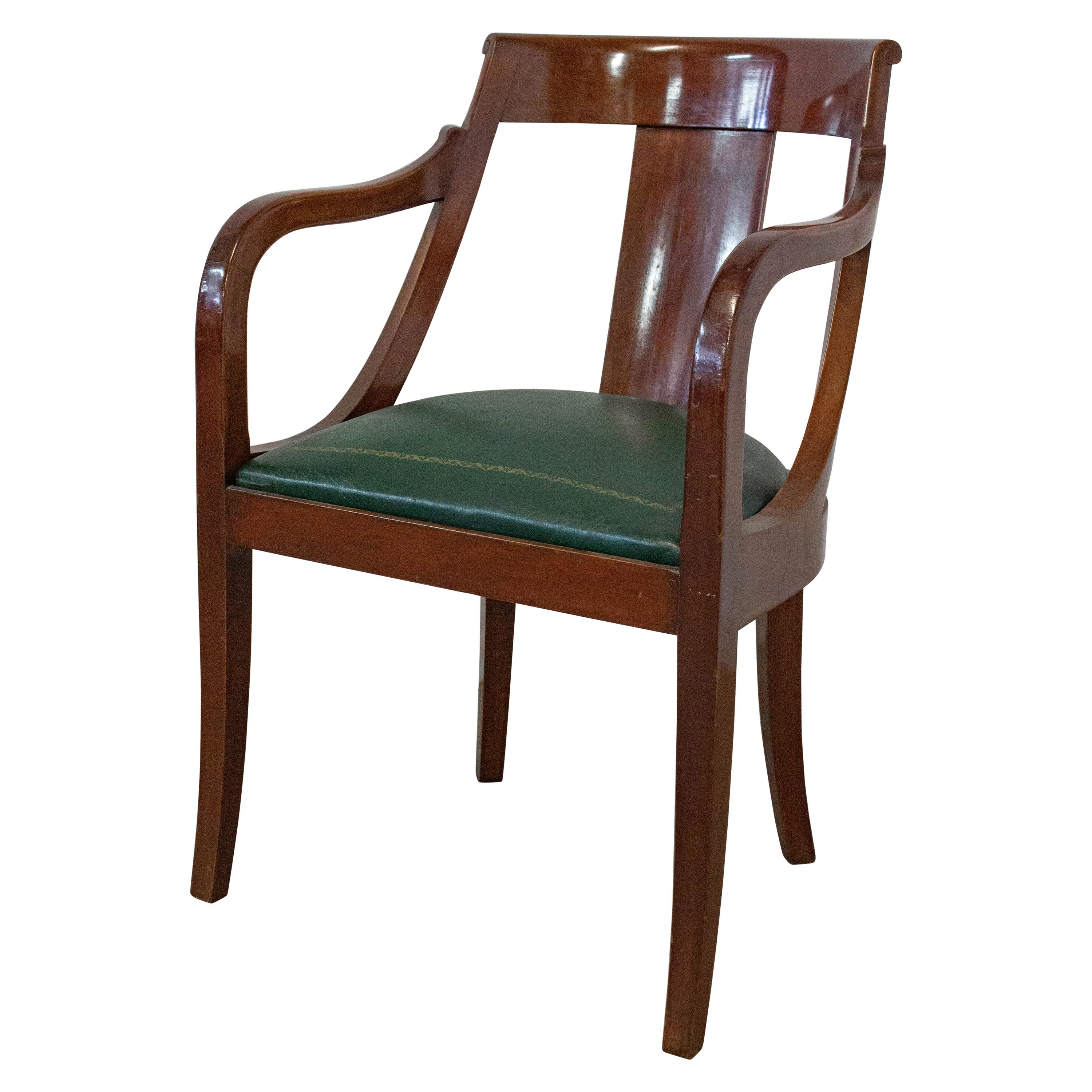 Empire Armchair Desk Chair French 20th Century Green Leather
