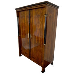 Empire Armoire, Walnut Veneer, Brass, Austria/Vienna circa 1815