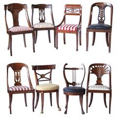 Empire Biedermeier Unique Eclectic Set, 8 Dining Chairs Each in Different Design