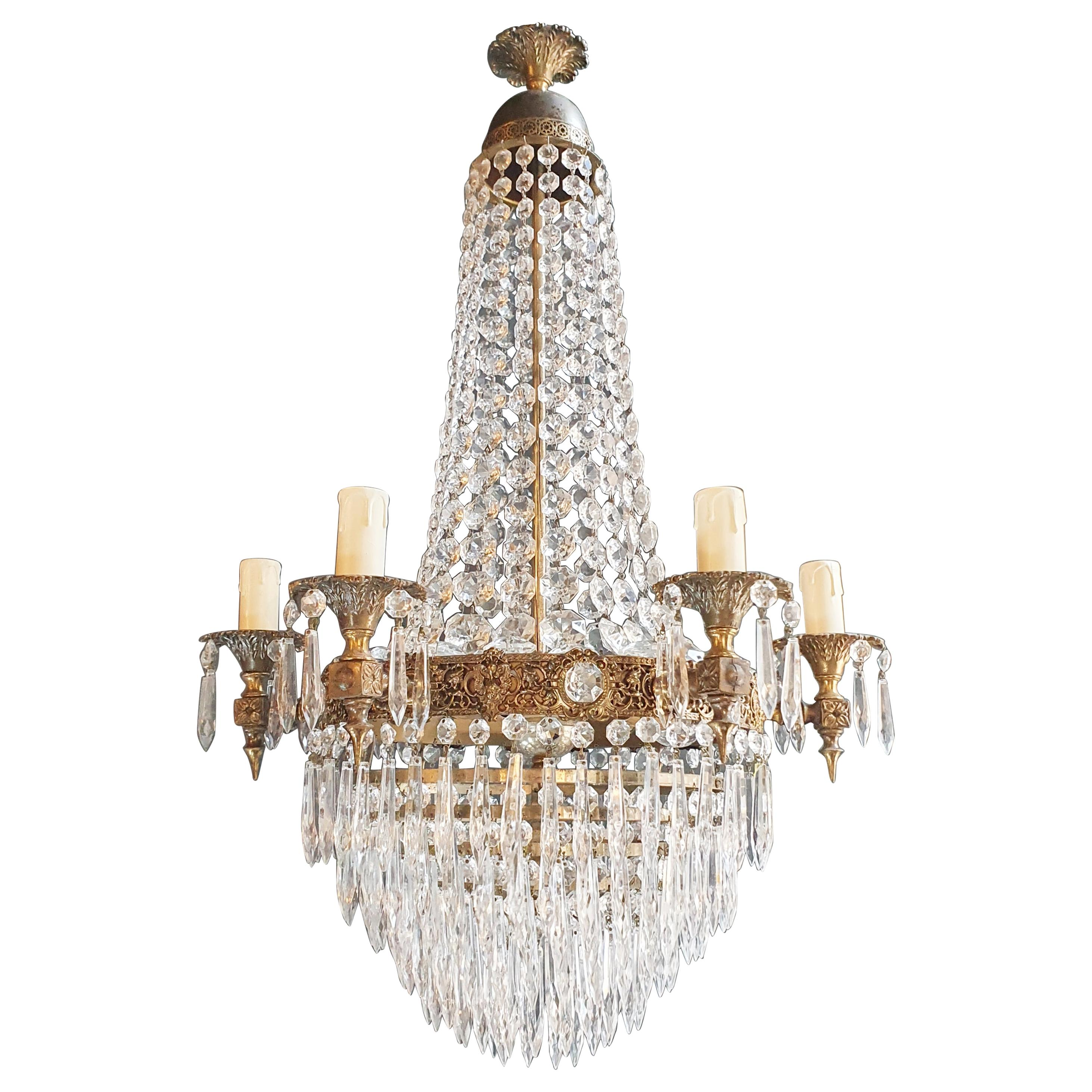 Empire Brass Sac a Pearl Chandelier Crystal Lustre Ceiling Antique