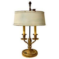Empire Bronze Bouillotte Lamp, Off-White Tôle Shade