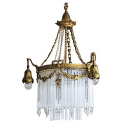 French Empire Style Gilt Bronze Doré Rod Chandelier