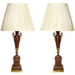 Empire Bronze Mounted Marble Table Lamps