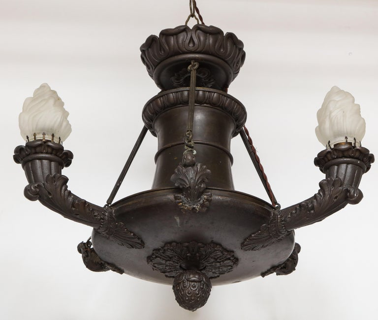 Empire Bronze Three-Light Chandelier For Sale 8