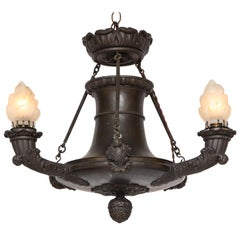 Empire Bronze Three-Light Chandelier