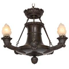 Empire Bronze Three-Light Chandelier