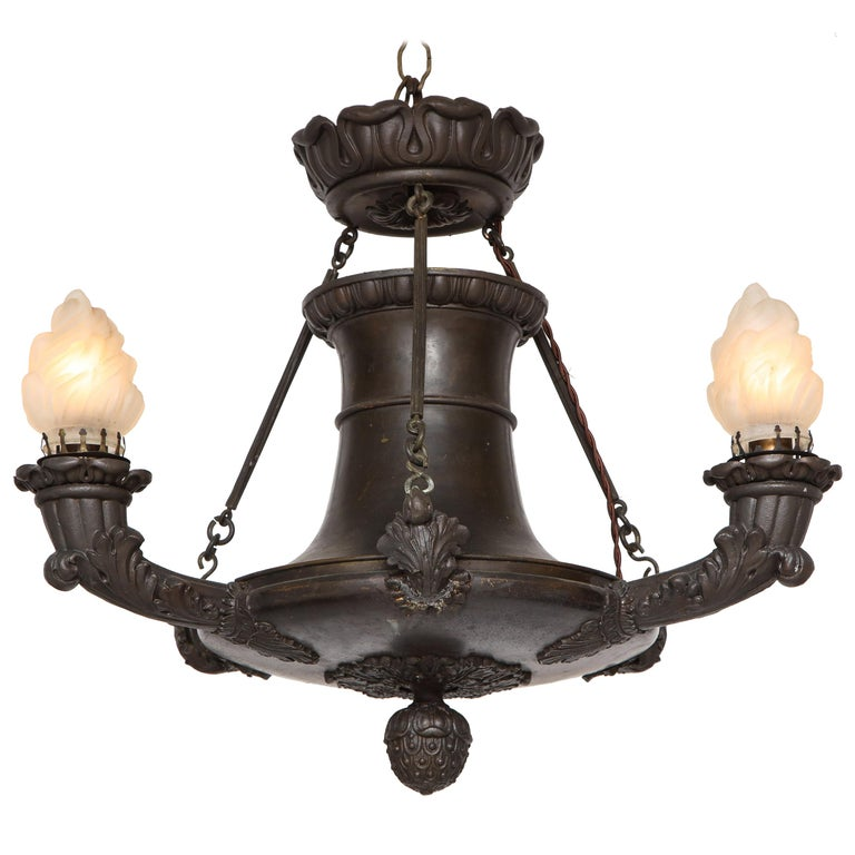 Empire Bronze Three-Light Chandelier For Sale