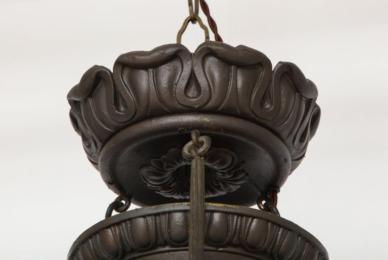 North American Empire Bronze Three-Light Chandelier For Sale