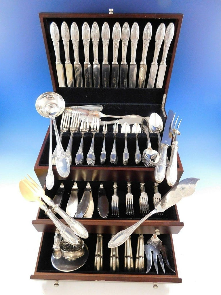 Monumental Empire by Erquis silver plated dinner size flatware set, 122 pieces. This set includes:  12 dinner knives, 10