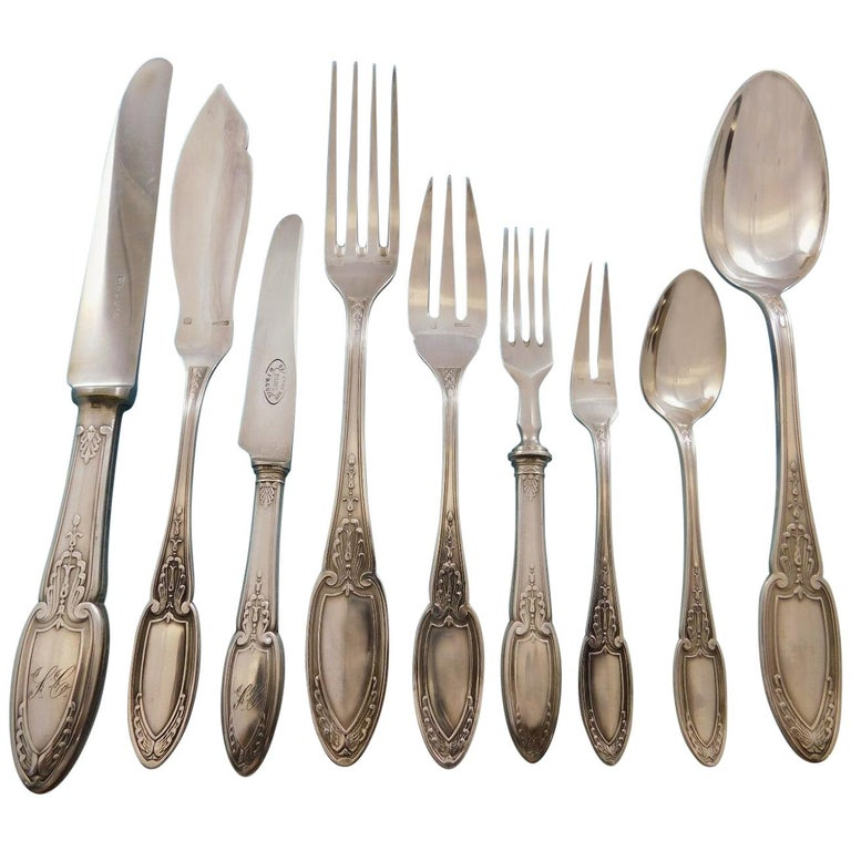 Empire by Ercuis Silverplate Flatware Set Service Dinner French 122 Pieces