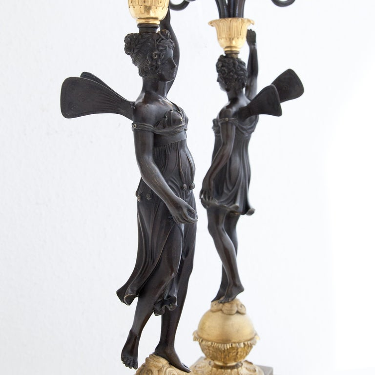 Gilt Empire Candelabras, France, Early 19th Century For Sale