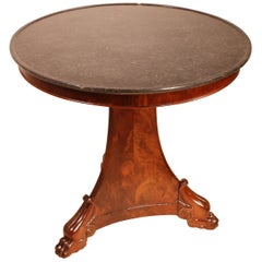 Empire Centre Table/Gueridon with Marble Top in Mahogany