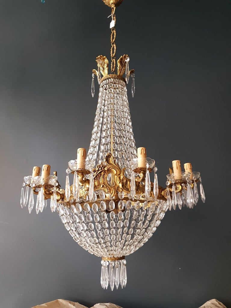 Empire Leuchter Kristall Sac eine Perle Lampe Glanz Jugendstil 2