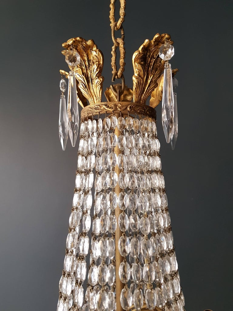 Empire Leuchter Kristall Sac eine Perle Lampe Glanz Jugendstil 3