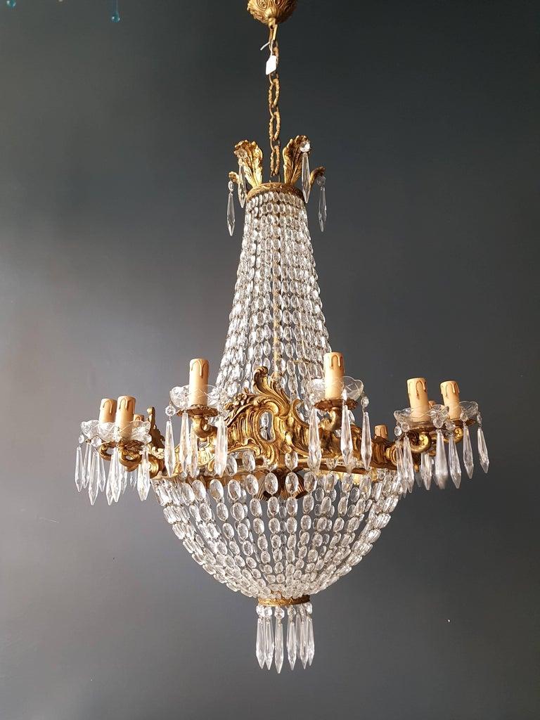Empire Leuchter Kristall Sac eine Perle Lampe Glanz Jugendstil 7