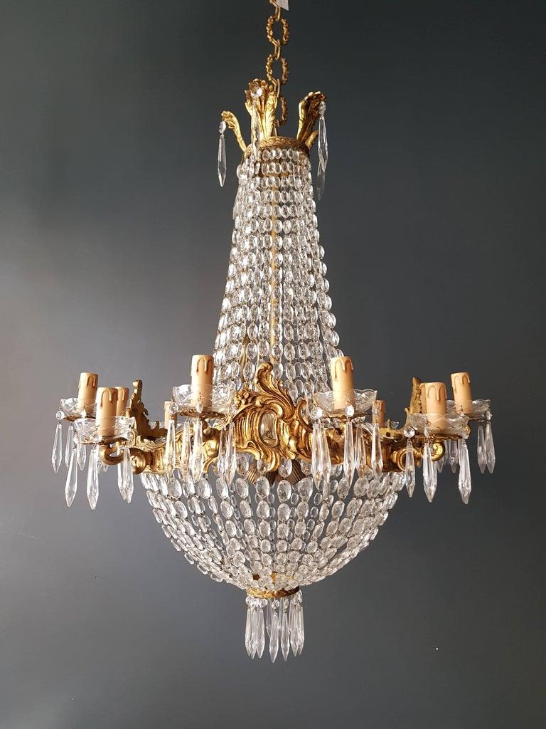 Empire Leuchter Kristall Sac eine Perle Lampe Glanz Jugendstil 9