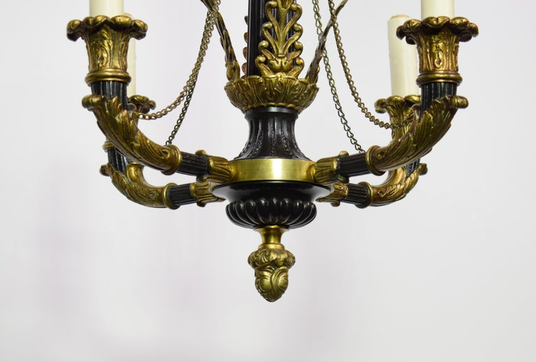 French A very fine Gilt & Enameled Bronze Empire style Chandelier For Sale