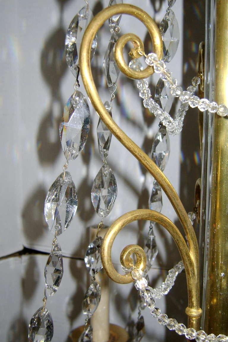 19th Century Empire Chandelier with Crystals For Sale