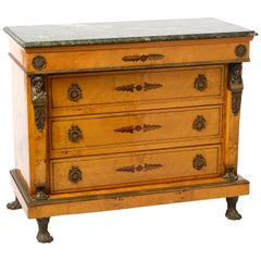 Empire Chest of Drawers with Green Marble Top, Brass Applications and Marquetry
