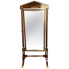 Empire Cheval Floor Full Length Mirror with Bronze Mounts, 19th-20th Century