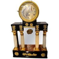 Empire Clock, Alabaster Columns, Black-Polished, Austria/Vienna circa 1815