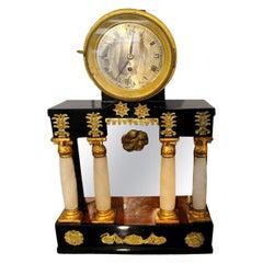 Empire Clock, Alabaster Columns, Black Polished, Vienna, Austria, circa 1815